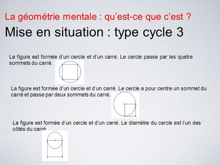 Mise en situation : type cycle 3