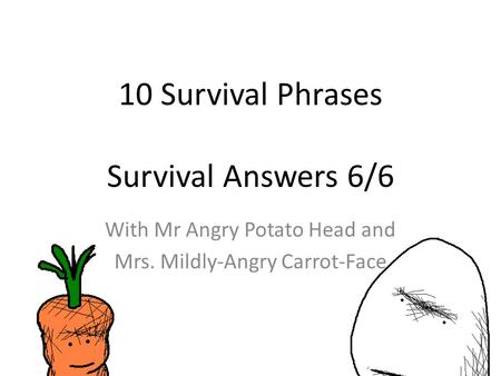 10 Survival Phrases Survival Answers 6/6 With Mr Angry Potato Head and Mrs. Mildly-Angry Carrot-Face.