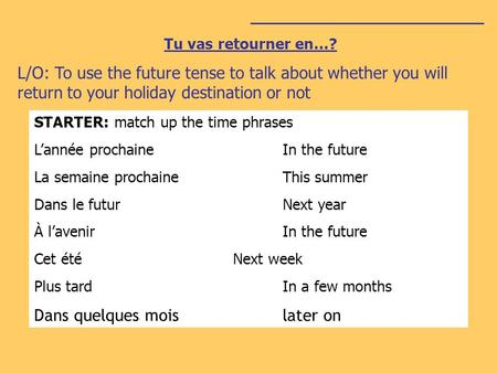 ________________________ Tu vas retourner en…? L/O: To use the future tense to talk about whether you will return to your holiday destination or not STARTER: