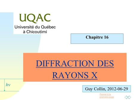 DIFFRACTION DES RAYONS X