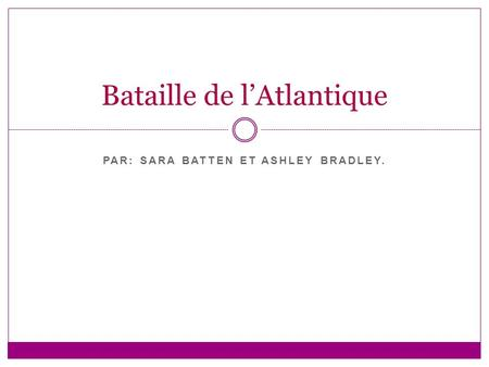 PAR: SARA BATTEN ET ASHLEY BRADLEY. Bataille de lAtlantique.