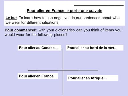 _______________________ Pour aller en France je porte une cravate Le but : To learn how to use negatives in our sentences about what we wear for different.