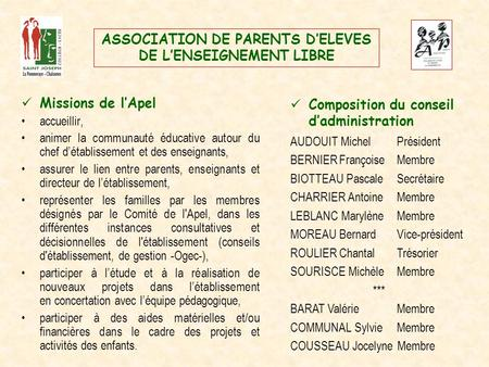 ASSOCIATION DE PARENTS D'ELEVES DE L'ENSEIGNEMENT LIBRE