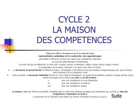 CYCLE 2 LA MAISON DES COMPETENCES