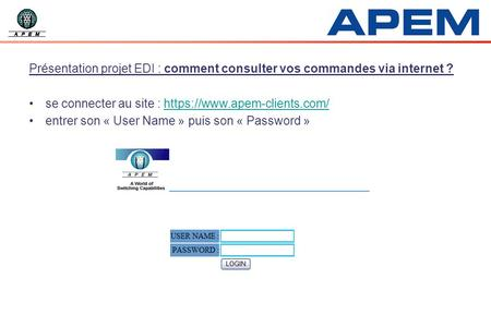 se connecter au site : https://www.apem-clients.com/