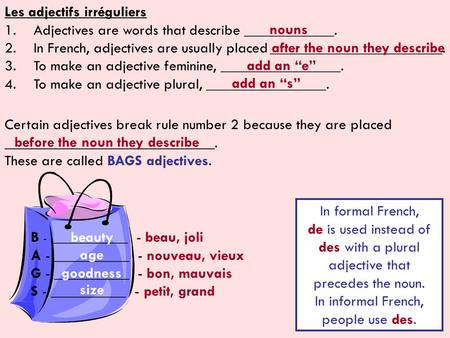 Irregular Adjectives Not All Adjectives Are Made The Same Ppt