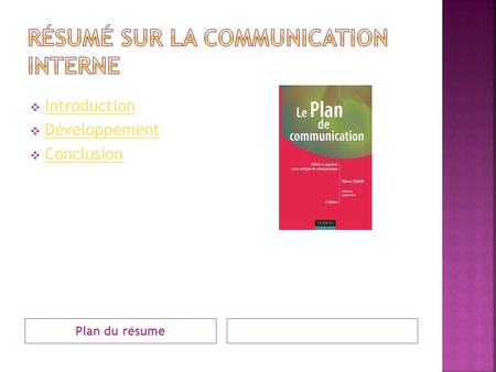 Plan du résume Introduction Développement Conclusion.