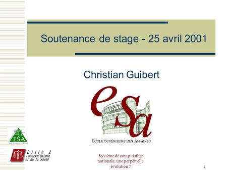 Soutenance de stage - 25 avril 2001