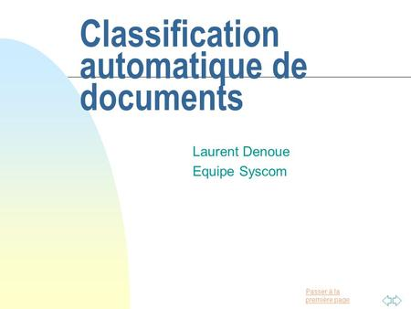 Classification automatique de documents