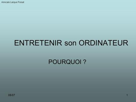 ENTRETENIR son ORDINATEUR