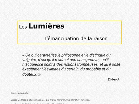l'émancipation de la raison