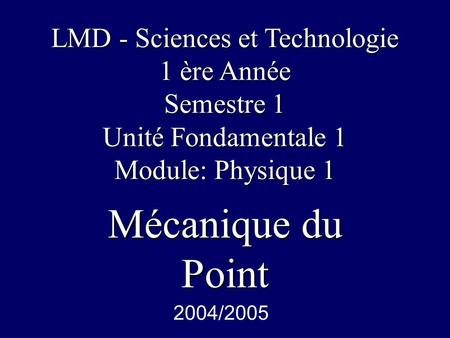 LMD - Sciences et Technologie