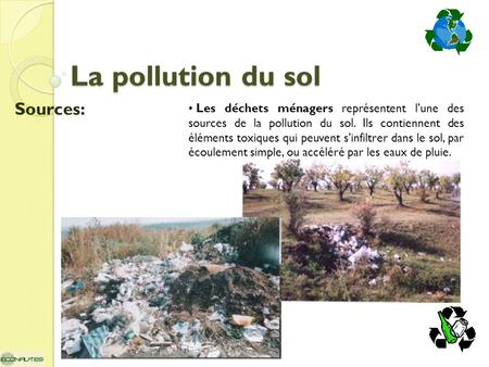 La pollution du sol Sources: