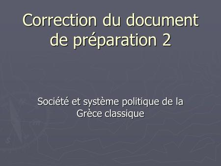 Correction du document de préparation 2