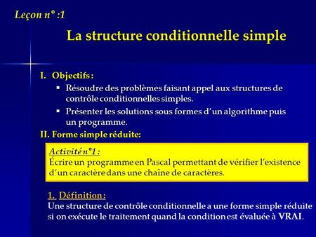 La structure conditionnelle simple