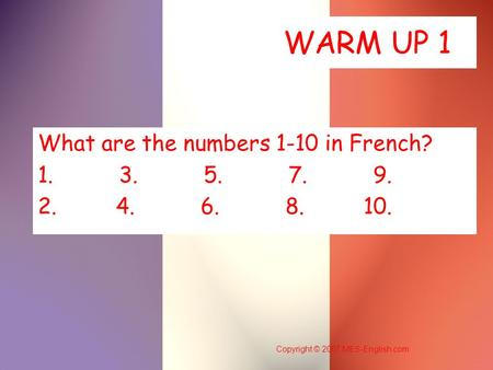 What are the numbers 1-10 in French?