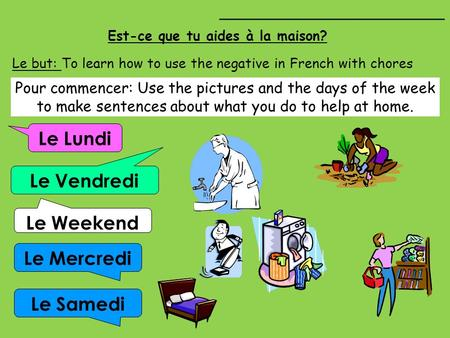 Est-ce que tu aides à la maison? Le Lundi Le Vendredi Le Mercredi Le Weekend Le but: To learn how to use the negative in French with chores ________________________.