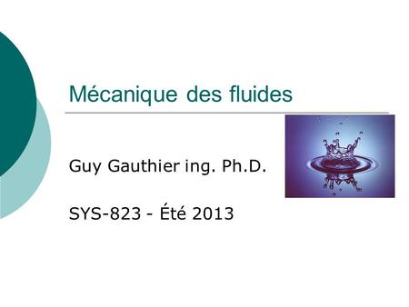 Guy Gauthier ing. Ph.D. SYS Été 2013