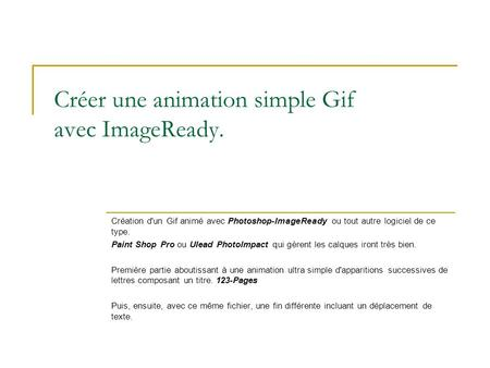 Créer une animation simple Gif avec ImageReady.