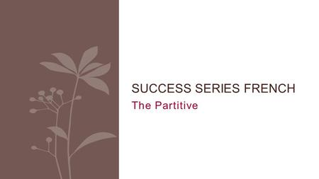 The Partitive SUCCESS SERIES FRENCH. The partitive It is the expression of quantity Part of vs. the whole item Review contractions with DE.