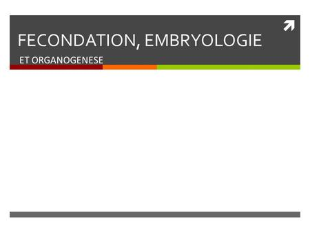 FECONDATION, EMBRYOLOGIE