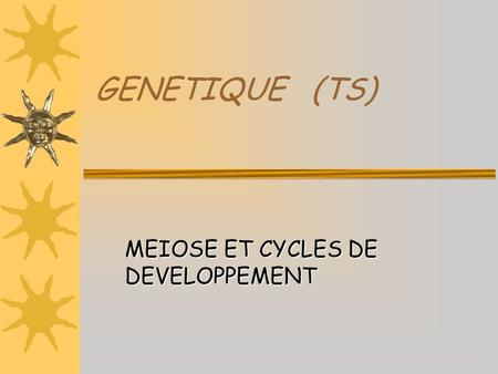 MEIOSE ET CYCLES DE DEVELOPPEMENT