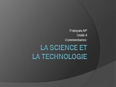 La science et la technologie