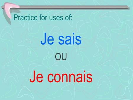 Practice for uses of: Je sais OU Je connais.