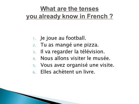 What are the tenses you already know in French ?