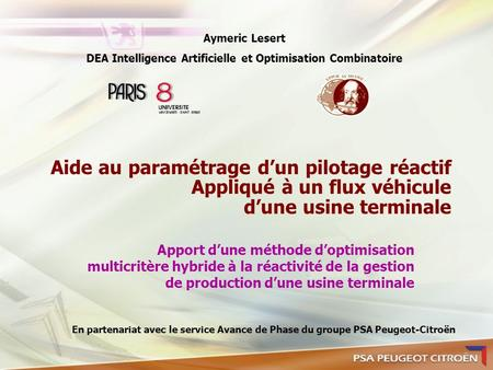DEA Intelligence Artificielle et Optimisation Combinatoire