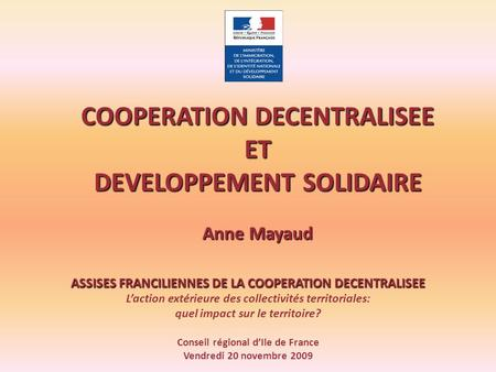 COOPERATION DECENTRALISEE ET DEVELOPPEMENT SOLIDAIRE