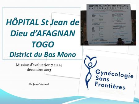 HÔPITAL St Jean de Dieu d'AFAGNAN TOGO District du Bas Mono