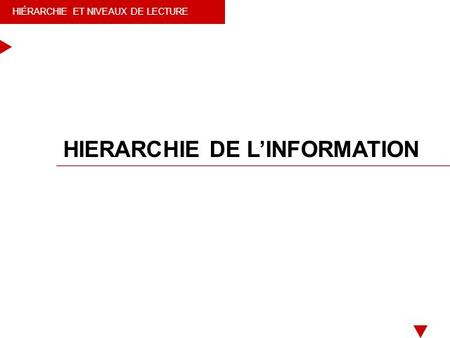 HIERARCHIE DE L'INFORMATION