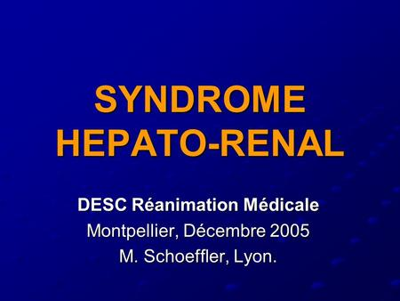 SYNDROME HEPATO-RENAL
