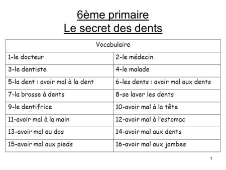 6ème primaire Le secret des dents