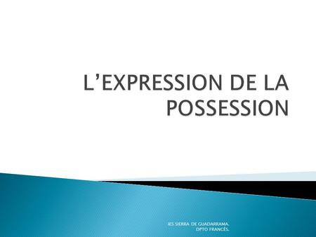 L'EXPRESSION DE LA POSSESSION
