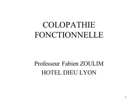 COLOPATHIE FONCTIONNELLE