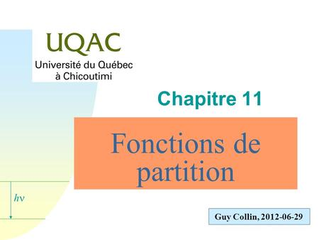 Fonctions de partition