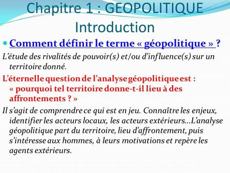 Chapitre 1 : GEOPOLITIQUE Introduction