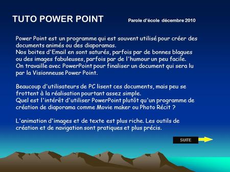 TUTO POWER POINT Parole d'école décembre 2010
