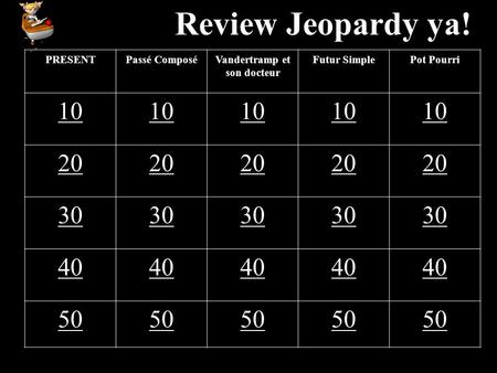 Review Jeopardy ya! PRESENTPassé ComposéVandertramp et son docteur Futur SimplePot Pourri 10 20 30 40 50.