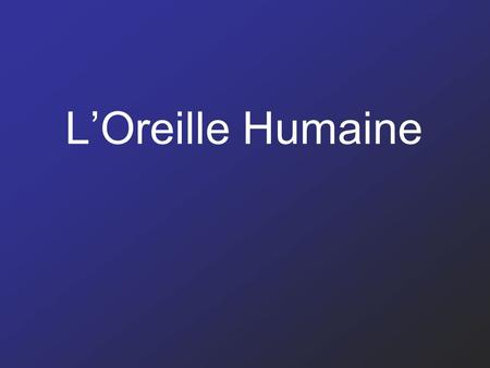 L'Oreille Humaine.