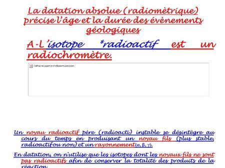 définition de datation radioisotope