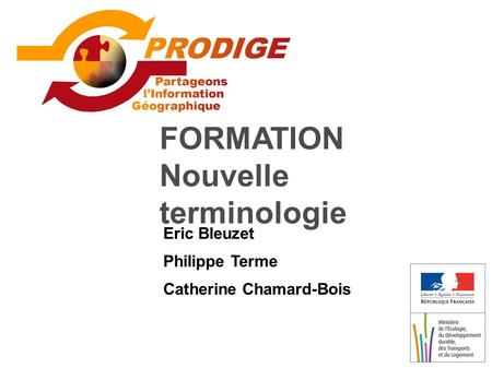 FORMATION Nouvelle terminologie Eric Bleuzet Philippe Terme Catherine Chamard-Bois.