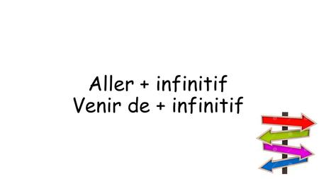 Aller + infinitif Venir de + infinitif. Aller = ___________ Aller + infinitive = ________________________ to go to be going to do something je vais tu.