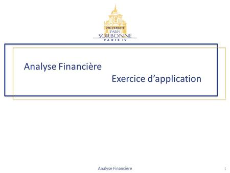 Analyse Financière Exercice d'application 1 Analyse Financière.