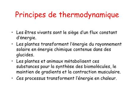 Principes de thermodynamique