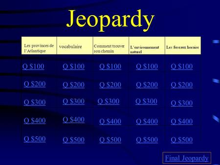 Jeopardy Les provinces de lAtlantique vocabulaire Comment trouver son chemin Q $100 Q $200 Q $300 Q $400 Q $500 Q $100 Q $200 Q $300 Q $400 Q $500 Final.