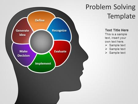Problem Solving Template Recognize Evaluate Implement Make Decision Make Decision Generate Idea Generate Idea Define Text Title Here This is a sample text,