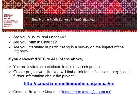 Are you Muslim, and under 40?